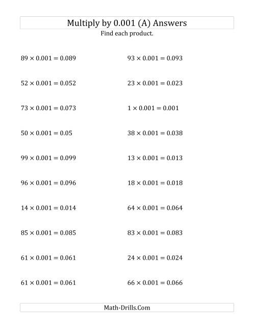 The Multiplying Whole Numbers by 0.001 (A) Math Worksheet Page 2