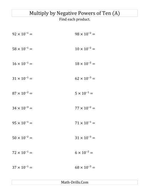 Multiplying Whole Numbers by Negative Powers of Ten Exponent Form – Negative and Zero Exponents Worksheet