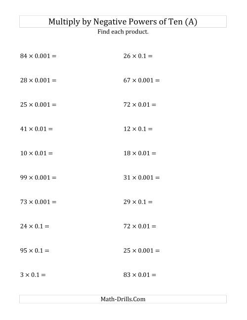 The Multiplying Whole Numbers by Negative Powers of Ten (Standard Form) (A) Math Worksheet