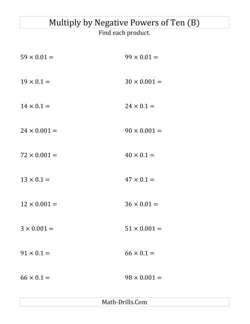 The Multiplying Whole Numbers by Negative Powers of Ten (Standard Form) (B) Math Worksheet