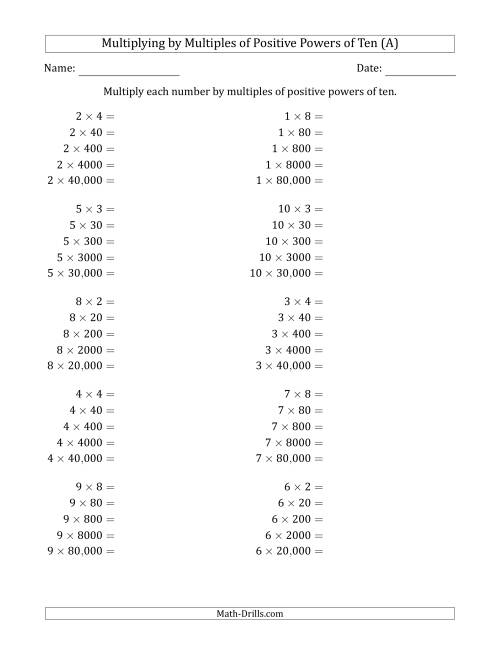 The One-Digit Multiplied by Multiples of Positive Powers of Ten (A) Math Worksheet