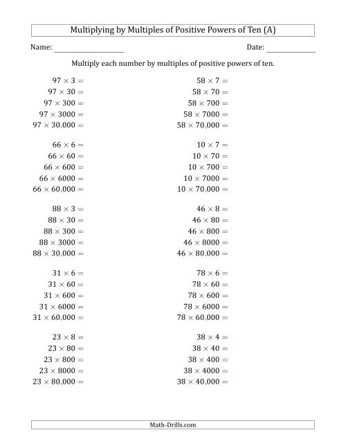 The Learning to Multiply Numbers (Range 10 to 99) by Multiples of Positive Powers of Ten in Standard Form (A) Math Worksheet