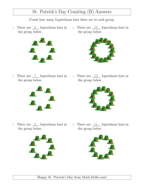 The Counting Leprechaun Hats in Circular Arrangements (B) Math Worksheet Page 2