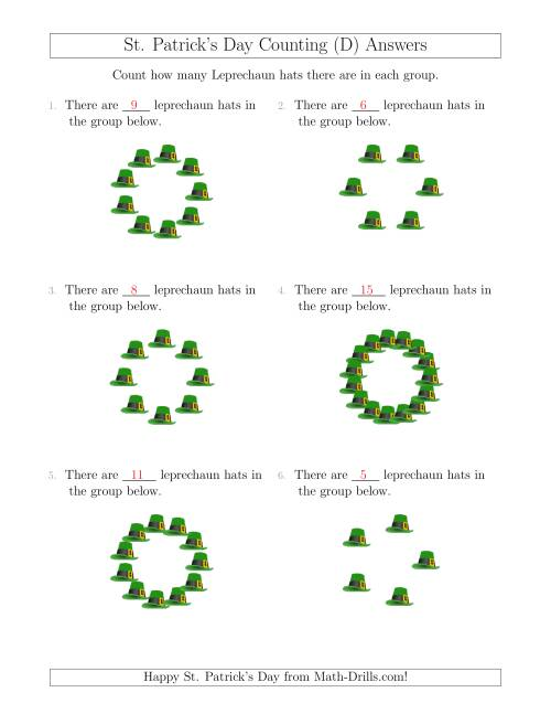 The Counting Leprechaun Hats in Circular Arrangements (D) Math Worksheet Page 2