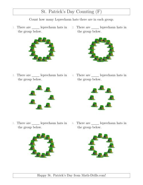 The Counting Leprechaun Hats in Circular Arrangements (F) Math Worksheet