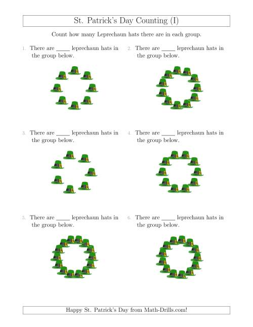 The Counting Leprechaun Hats in Circular Arrangements (I) Math Worksheet
