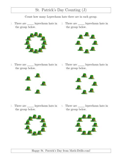 The Counting Leprechaun Hats in Circular Arrangements (J) Math Worksheet