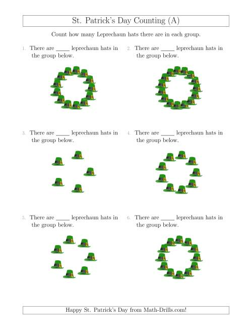 The Counting Leprechaun Hats in Circular Arrangements (All) Math Worksheet