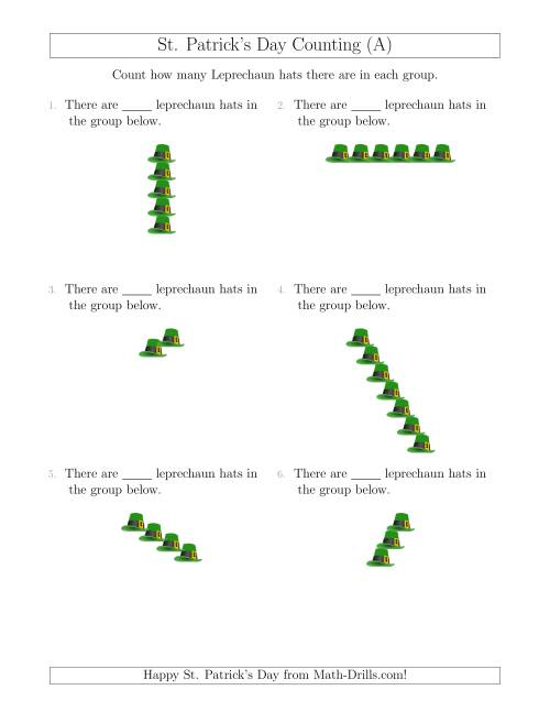 The Counting Leprechaun Hats in Linear Arrangements (A) St. Patrick's Day Math Worksheet