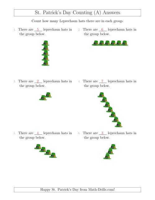 The Counting Leprechaun Hats in Linear Arrangements (A) Math Worksheet Page 2