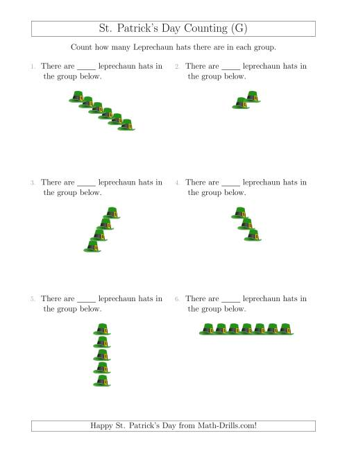 The Counting Leprechaun Hats in Linear Arrangements (G) Math Worksheet