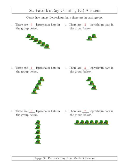 The Counting Leprechaun Hats in Linear Arrangements (G) Math Worksheet Page 2