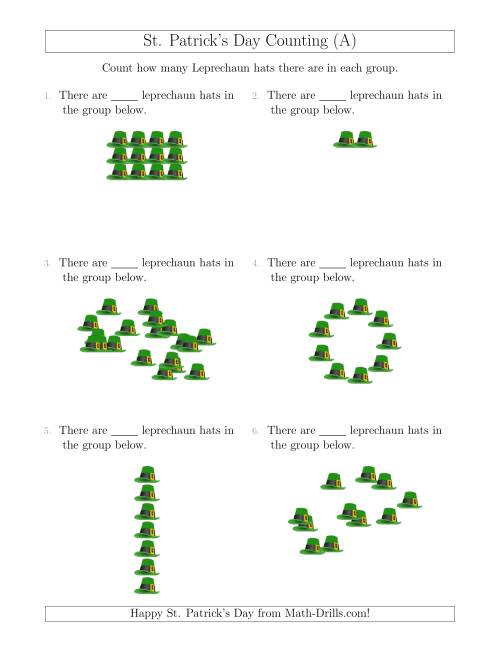 The Counting Leprechaun Hats in Various Arrangements (A) Math Worksheet
