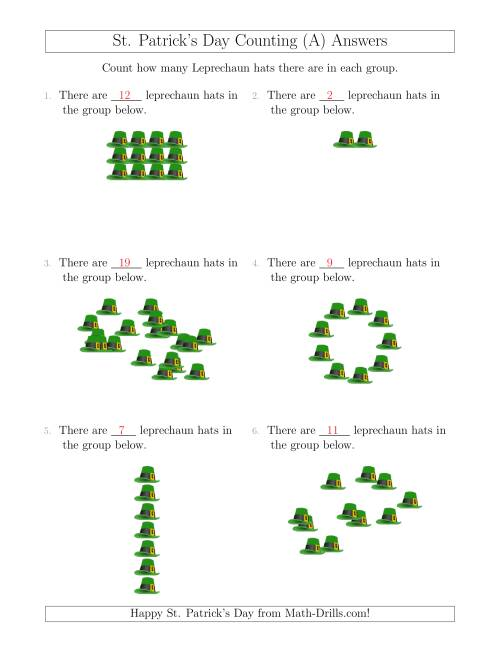 The Counting Leprechaun Hats in Various Arrangements (A) Math Worksheet Page 2