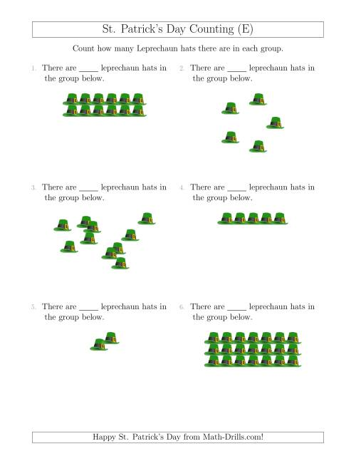 The Counting Leprechaun Hats in Various Arrangements (E) Math Worksheet