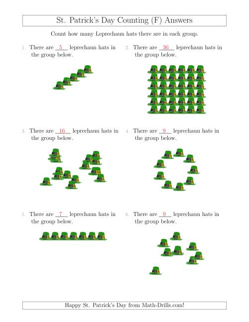 The Counting Leprechaun Hats in Various Arrangements (F) Math Worksheet Page 2