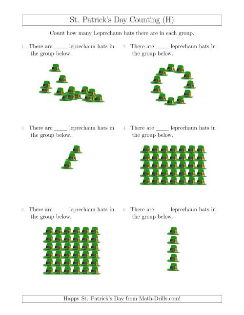 The Counting Leprechaun Hats in Various Arrangements (H) Math Worksheet