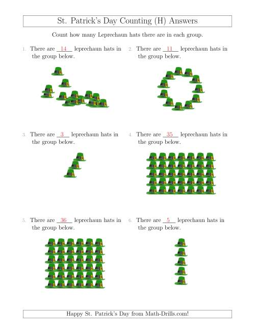 The Counting Leprechaun Hats in Various Arrangements (H) Math Worksheet Page 2