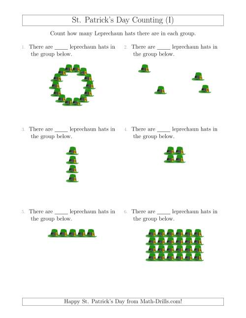 The Counting Leprechaun Hats in Various Arrangements (I) Math Worksheet