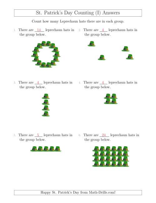The Counting Leprechaun Hats in Various Arrangements (I) Math Worksheet Page 2