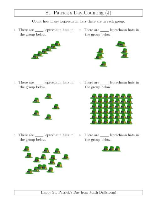 The Counting Leprechaun Hats in Various Arrangements (J) Math Worksheet