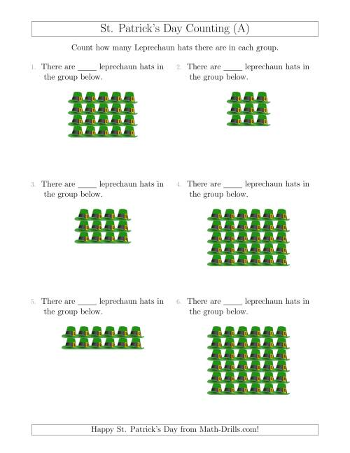 The Counting Leprechaun Hats in Rectangular Arrangements (A) Math Worksheet