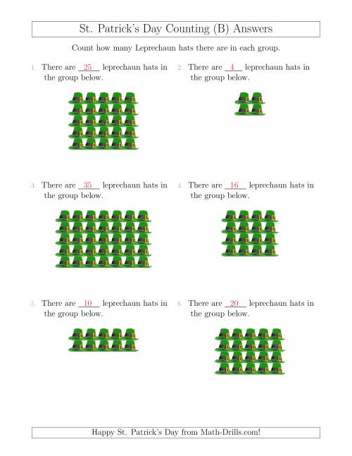 The Counting Leprechaun Hats in Rectangular Arrangements (B) Math Worksheet Page 2
