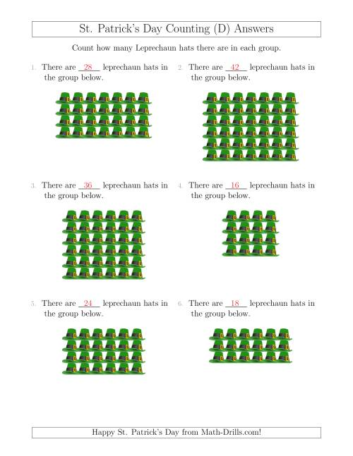 The Counting Leprechaun Hats in Rectangular Arrangements (D) Math Worksheet Page 2