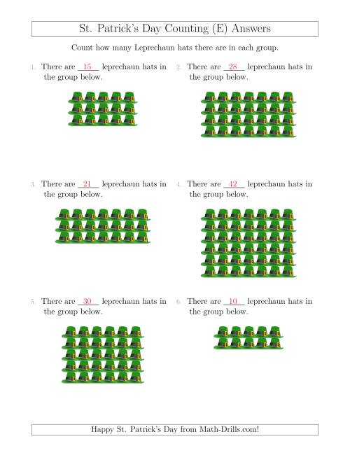 The Counting Leprechaun Hats in Rectangular Arrangements (E) Math Worksheet Page 2