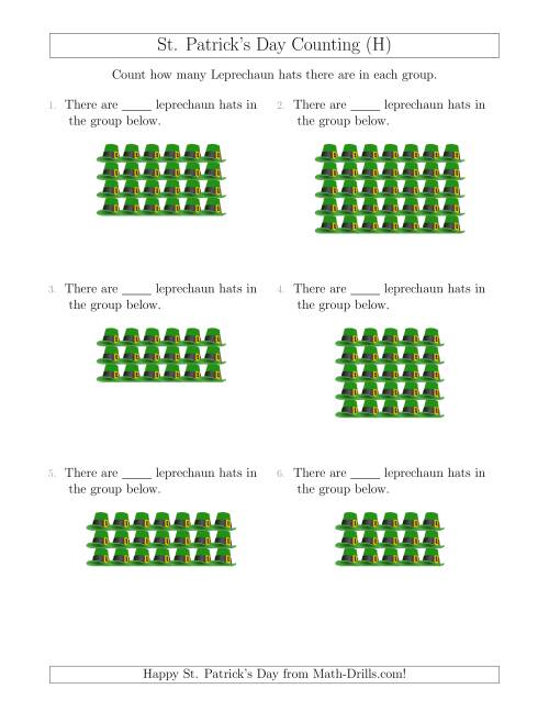 The Counting Leprechaun Hats in Rectangular Arrangements (H) Math Worksheet