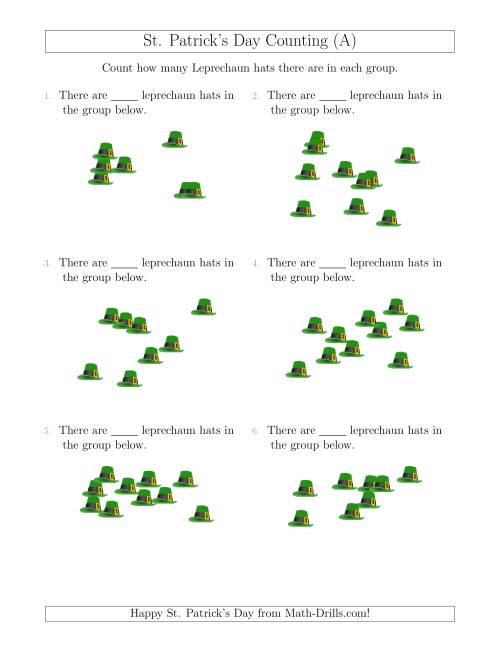 The Counting up to 10 Leprechaun Hats in Scattered Arrangements (A) Math Worksheet