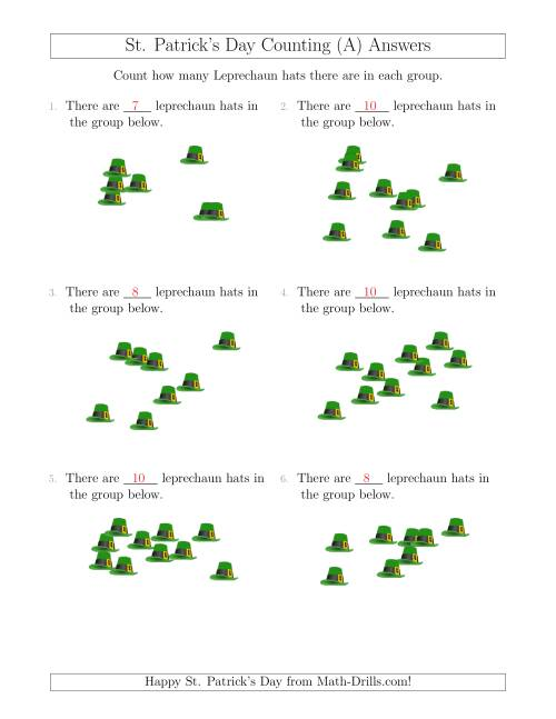 The Counting up to 10 Leprechaun Hats in Scattered Arrangements (A) Math Worksheet Page 2