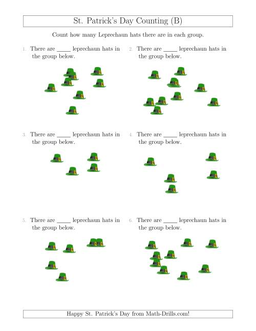 The Counting up to 10 Leprechaun Hats in Scattered Arrangements (B) Math Worksheet