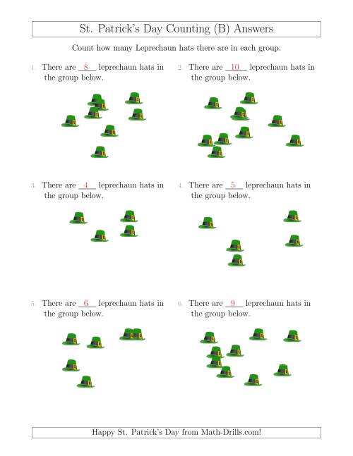 The Counting up to 10 Leprechaun Hats in Scattered Arrangements (B) Math Worksheet Page 2