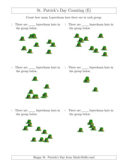 The Counting up to 10 Leprechaun Hats in Scattered Arrangements (E) Math Worksheet