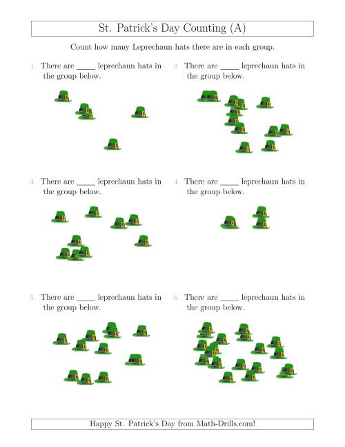 The Counting up to 20 Leprechaun Hats in Scattered Arrangements (A) St. Patrick's Day Math Worksheet