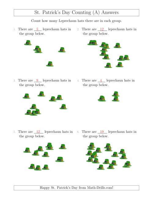 The Counting up to 20 Leprechaun Hats in Scattered Arrangements (A) Math Worksheet Page 2