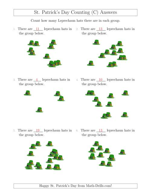 The Counting up to 20 Leprechaun Hats in Scattered Arrangements (C) Math Worksheet Page 2