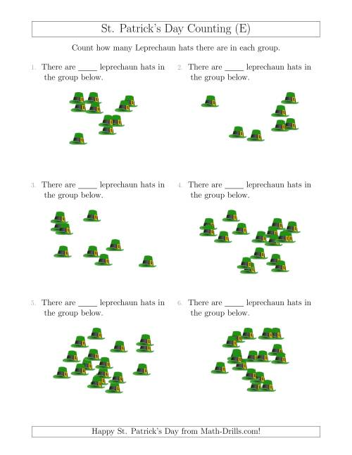 The Counting up to 20 Leprechaun Hats in Scattered Arrangements (E) Math Worksheet