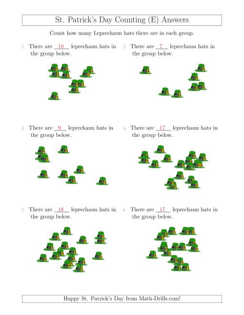 The Counting up to 20 Leprechaun Hats in Scattered Arrangements (E) Math Worksheet Page 2