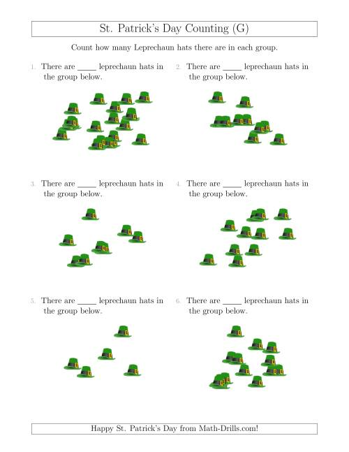 The Counting up to 20 Leprechaun Hats in Scattered Arrangements (G) Math Worksheet