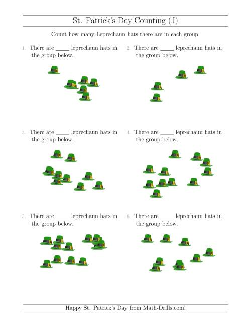 The Counting up to 20 Leprechaun Hats in Scattered Arrangements (J) Math Worksheet