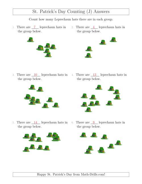 The Counting up to 20 Leprechaun Hats in Scattered Arrangements (J) Math Worksheet Page 2