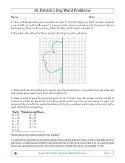 St  Patrick's Day Math Worksheets