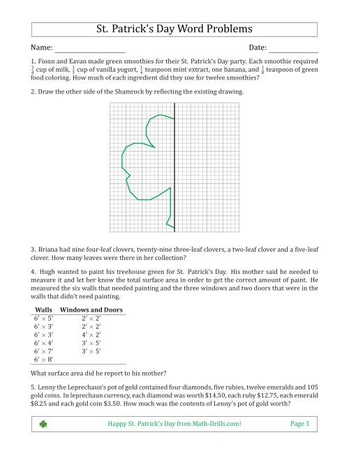 The Saint Patrick's Day Math Word Problems - Multi-Step - Middle School Math Worksheet