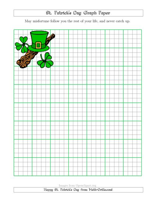 The St. Patrick's Day Graph Paper 1/4 Inch with a Shillelagh Theme Math Worksheet
