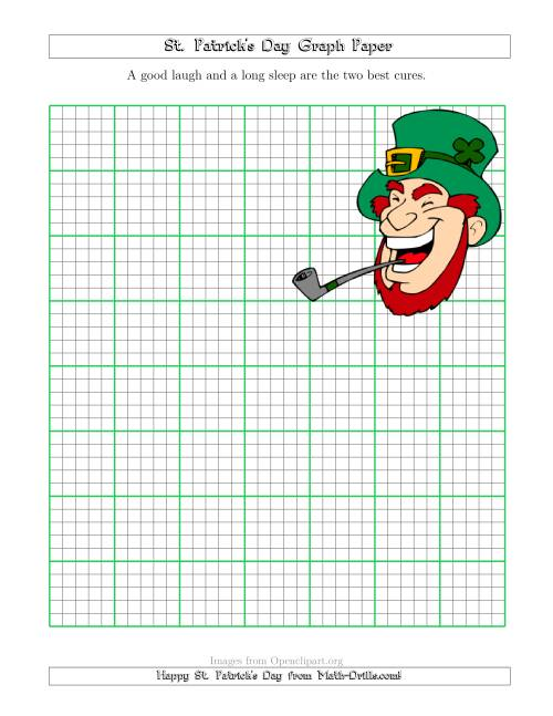 The St. Patrick's Day Graph Paper 5 Lines Per Inch with a Leprechaun Theme Math Worksheet
