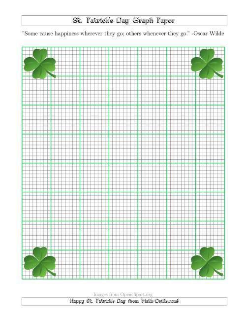 The St. Patrick's Day Graph Paper 1/8 Inch with a Clover Theme Math Worksheet