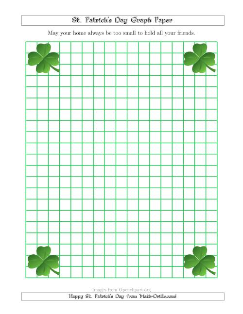 The St. Patrick's Day Graph Paper 1 cm with a Clover Theme Math Worksheet
