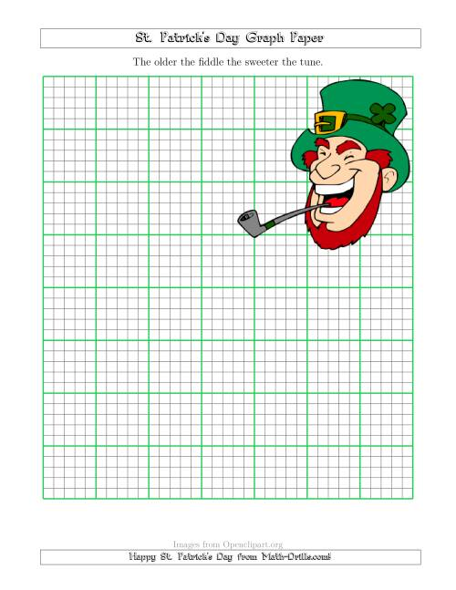 The St. Patrick's Day Graph Paper 2.5/0.5 cm with a Leprechaun Theme